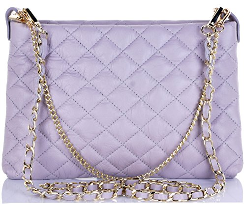 Primo Sacchi Italian Quilted Light Grey Leather Hand Made Shoulder Bag Handbag by Primo Sacchi