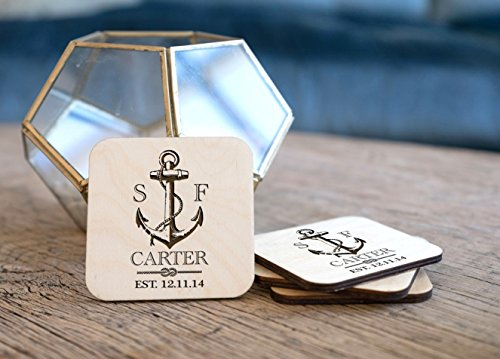 Personalized Coasters - Set of 4 - Nautical Anchor