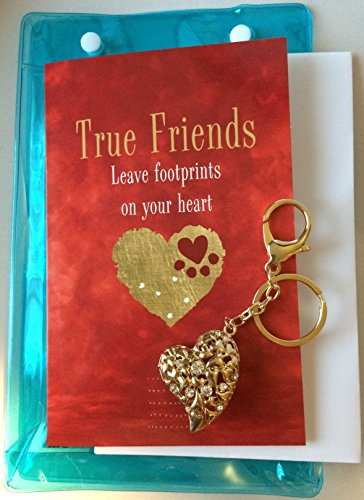 Smiling Wisdom - True Friends Leave Footprints Gold Heart Key Chain Gift Set - Friendship Greeting Card For Special True Best Friend - Her, BFF, Woman, Female - Plus Free ()