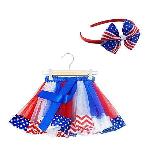 SunTrade 2 pcs Kids Girls July 4th American Flag Printed Tutu Skirt Independence Day Dance Dress Set,Blue/White/Red,M ( 4-6 Years )