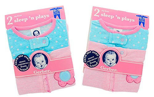 Footed Sleeper Snap Front (Gerber Girls Pink/Blue Front Zip & Snap Footed Sleep N' Play Sleepers, 4 Pack (0-3 Months))