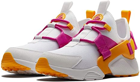 Nike Air Huarache City Zapatillas de Running para Mujer, Color Blanco/Fucsia Blast-University Gold, 7: Amazon.es: Deportes y aire libre