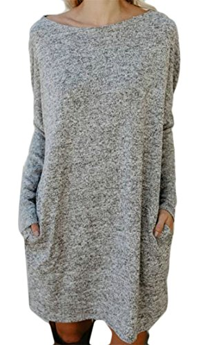 Top Knit Gray Dress Blouse Shirt Womens Casual Neck Cromoncent Pocket Scoop T xPHRWWn7