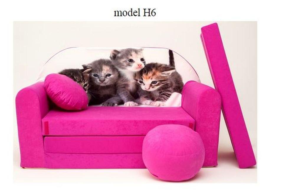 DECOONLINE Divano divanetto bambini cuscino e puff mini divano transformabile in lettino.