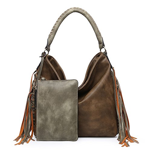- Shomico Womens Shoulder bag Hobo Purse Crossbody Fringes Bags for Ladies Taupe Green (Large, Brown)