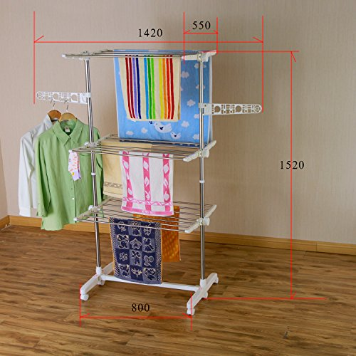 Ameride luxury foldable drying rack, 3 levels, side wings on 3 (Tower Airer)
