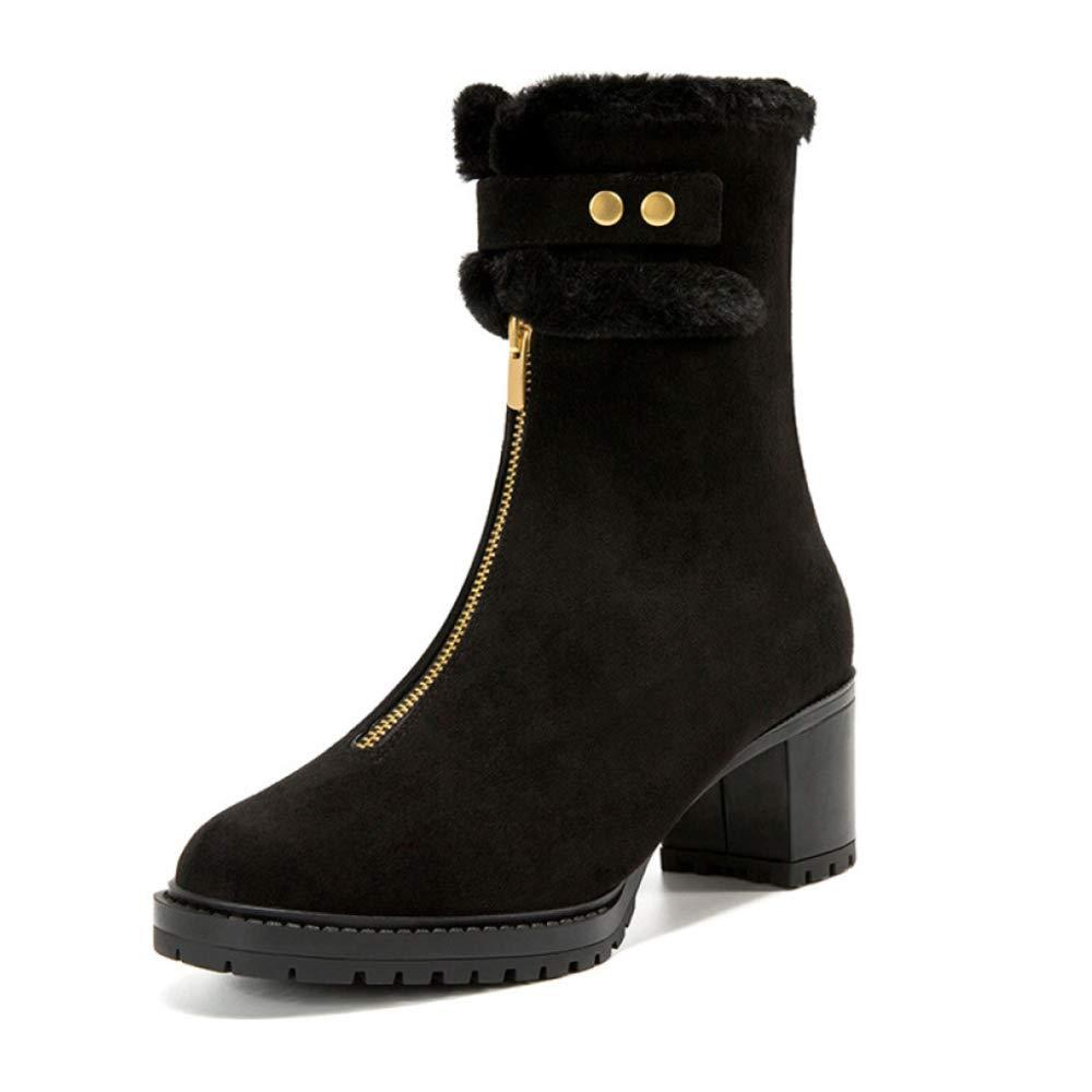 RegbKing Schneestiefel Damenschuhe Mode Knöchel ReißVerschluss Martin Stiefel High Heels