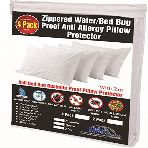 4 Pack Pillow Protectors 100% Waterproof Standard Soft Anti Allergy Breathable Membrane 20x26 Bed Bug Dust Mite Life Time ReplacementSmooth Fabric Zip Encasement Hypoallergenic Covers Cases White