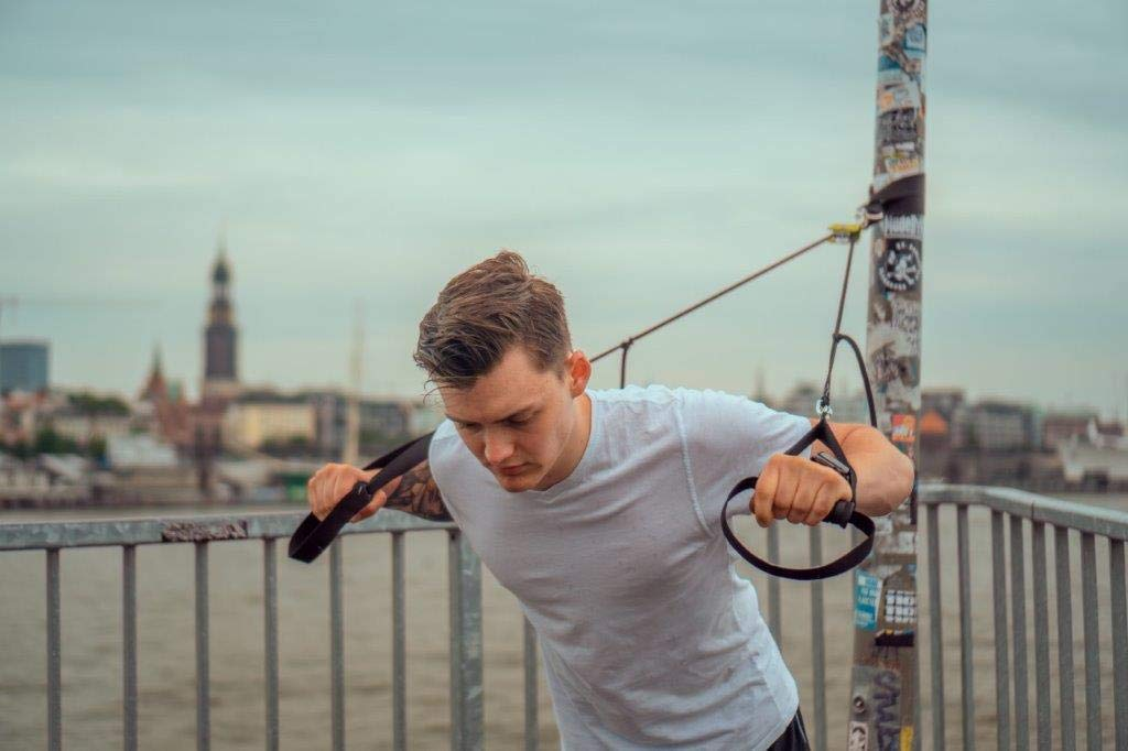 abnehmbare Griffe inkl BodyCROSS Schlingentrainer Komplettset mit Functional Training Buch Premium Sling und Sling mit Umlenkrolle Made in Germany T/üranker und Befestigungsschlaufe