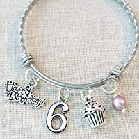 6th BIRTHDAY GIRL BRACELET Birthday Charm Bracelet 6 Year Old Daughter Gift