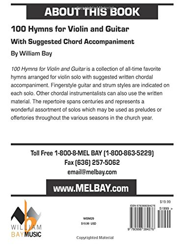 Amazon com: 100 Hymns for Violin and Guitar: With Suggested