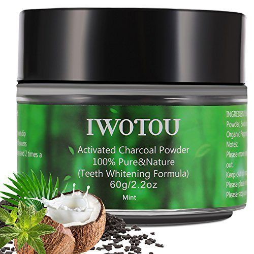 Iwotou Teeth Whitening Charcoal Powder, Natural Activated Charcoal Teeth Whitener of Organic Coconut Shells with mint flavor [UPGRADE Special Formula - EASIER To Rinse] (Mint)