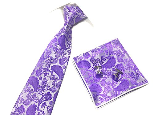 Someties New Fashion Paisley Cashew Men's Necktie & Pocket Square & Cuff Links Set(Light (New Mens Paisley Light)