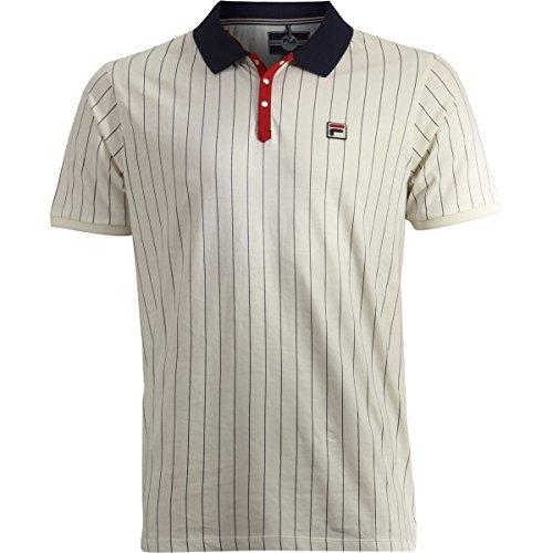 Fila Men's BB1 Polo Shirt, Gardenia, Navy, Chinese Red, 2XL