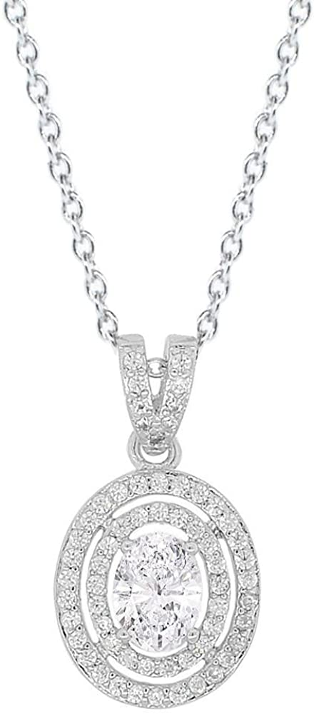 Silvercartvila 14K White Gold Plated 1.5 Ct Oval /& Round Sim Diamond Halo Necklace with 18 Chain