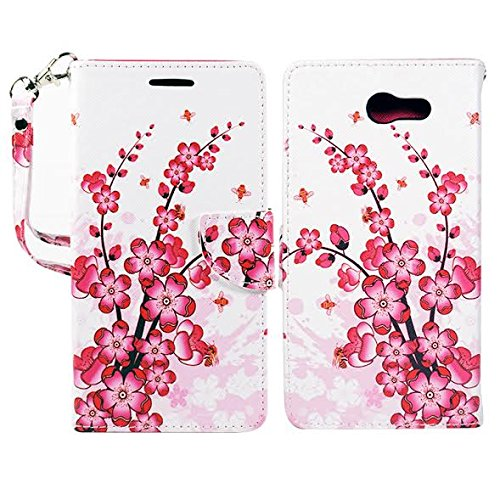 Cherry Cell Phone Case - Samsung J7 V Case, Galaxy J7 (2017), J7 Perx, J7 Sky Pro Wallet Pouch Folio PU Leather Case w/[Kickstand] Card Slot For Galaxy J7 (2017), J7V, J7 Perx, J7 Sky Pro by Zase (White Cherry Blossom)