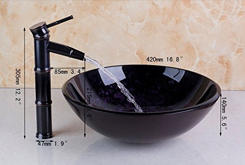 GOWE Bathroom Sink Washbasin Glass Hand-Painted+ Bamboo Black Tap Lavatory Bath Sink Combine Set Torneira Tap Mixer Faucet 2