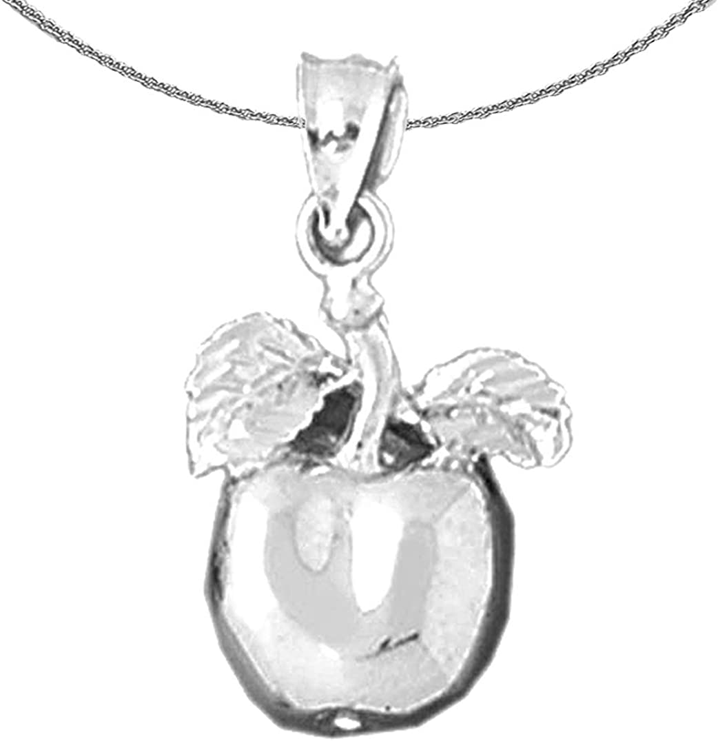 Rhodium-plated 925 Silver Apple Pendant with 18 Necklace Jewels Obsession Silver Apple Necklace
