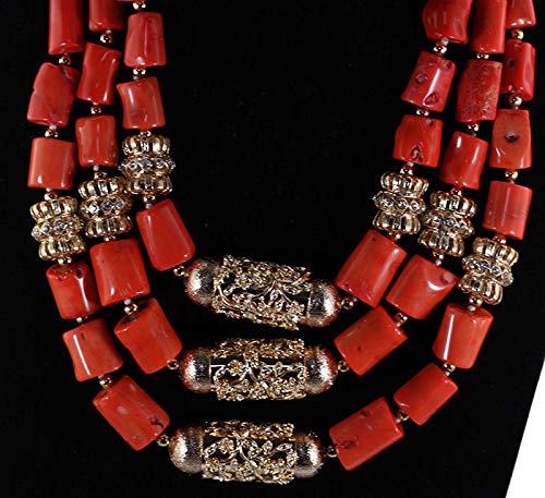 Latest Chunky Coral African Wedding Jewelry Sets Gold Nigerian Women Coral Bridal Necklace Earrings Set