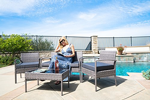 Belleze 4PC Rattan Sectional Furniture Set with Seat Cushion Outdoor Garden Wicker PE Wicker Sofa & Table, Gray (Garden Gray Stool)