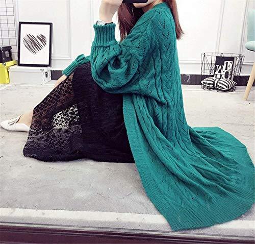 Maglia Glamorous Aperto Autunno Semplice Cappotto Outerwear Donna Vintage Fashion A Maniche Grün Ragazze Casual Giacca Forcella Invernali Pullover Lunghe Monocromo Eleganti Ppp75wq