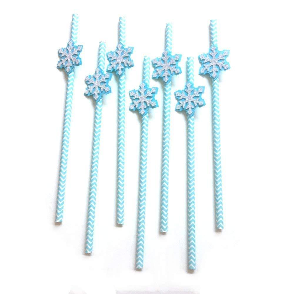 12 pcs Snowflake silver glitter baby blue chevron paper straws first birthday winter onederland theme