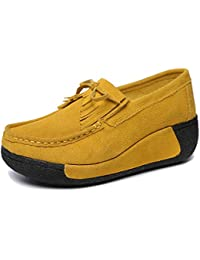 Women Slip On Wedges Sneakers Fashion Tassel Platform Suede Loafers Shoes
