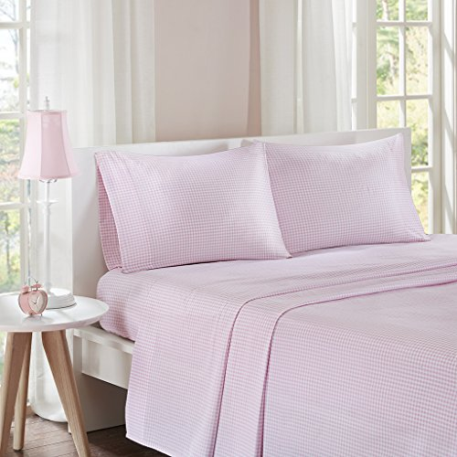 Mi-Zone Gingham Twin Bed Sheets, Casual 100% Cotton Bed Sheet, Pink Bed Sheet Set 3-Piece Include Flat Sheet, Fitted Sheet & ()
