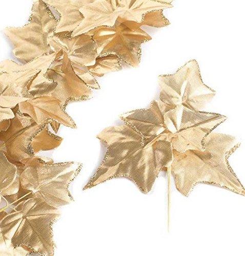 Factory Direct Craft Group of 6 Versatile Artificial Gold Ivy Leaf Picks for Wedding Decor, Floral Arranging and Embellishing