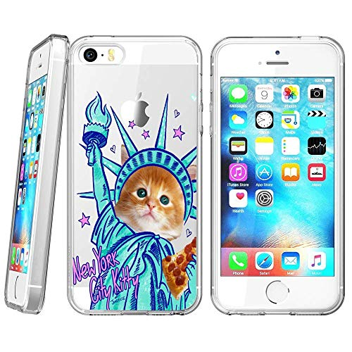 (iPhone SE 5s 5 Case, Soft TPU Slim-Fit Flexible Ultra-Thin Clear Case, Full-Body Rugged Bumper Print New York City Kitty Case for iPhone SE 5s 5,)