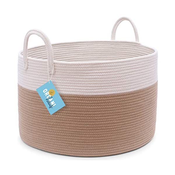 OrganiHaus XXL Extra Large Cotton Rope Basket | 20″x13.5″ Blanket Storage Basket with Long Handles | Decorative Clothes Hamper Basket | Baby and Kids Room Toy Bin | Blanket Basket