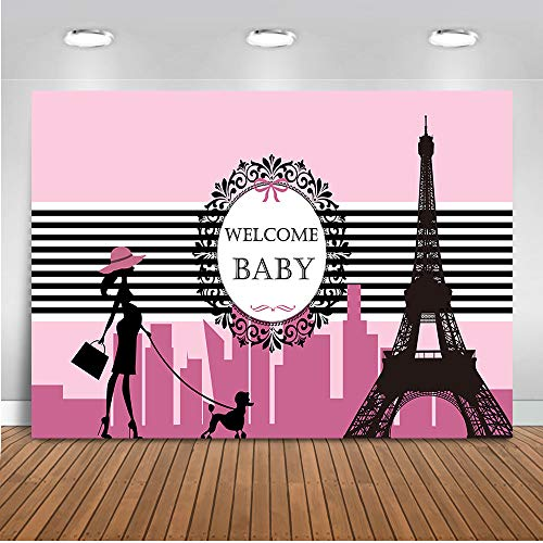 Shower Backdrop Pink Paris Themed Baby Shower Photography Background 7x5ft Eiffel Tower Baby Shower Party Banner Supplies Backdrops ()