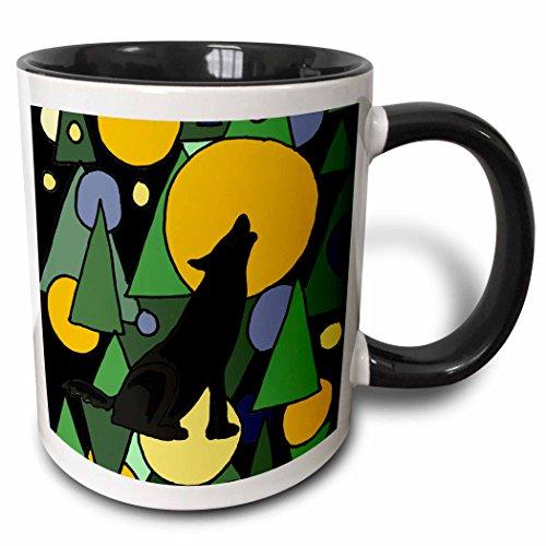 3dRose All Smiles Art Abstract - Colorful Wolf Howling at Moon Abstract Art - 15oz Two-Tone Black Mug (mug_196101_9) (Pics Of Wolves Howling At The Moon)