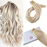Moresoo 16inch Seamless Real Human Hair Color #18 Ash Blonde Highlighted with #613 Blonde 20PCS 50G Glue on Hair Tape in Hair Extensions Remy Human Hair