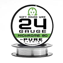 Pure Atomist Nichrome 80 24 Gauge AWG 50' Round Wire Roll 0.51mm 24g Spool N80