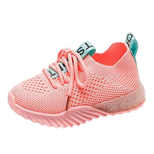 Unisex Kids LED Sneakers Girls Boys Soft Knit Breathable Light Up Flashing Shoes Fashion Slip on Gift Shoes Pink