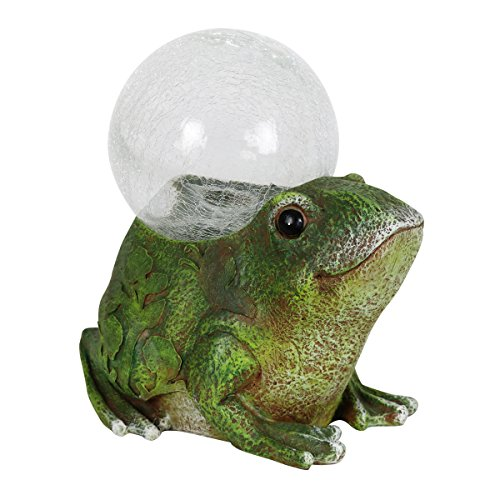 Exhart Frog with Glass Globe, Solar Powered, Resin & Glass, Weather Resistant, Indoors & Outdoors, 7″ L x 10″ W x 10″ H Review