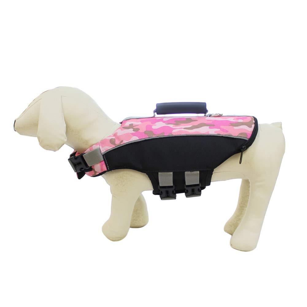 La Vida del Perro de la Chaqueta Salvavidas Perro Chin boya de flotabilidad Secure Perro Salvavidas para Perros medianos y Grandes de 27,5 cm (Rosa ...