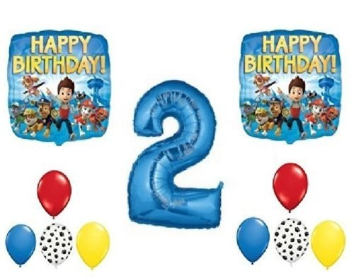 - LoonBalloon PAW PATROL Chase Dog 2nd #2 Blue 11 Piece Birthday Party Mylar Latex Balloons