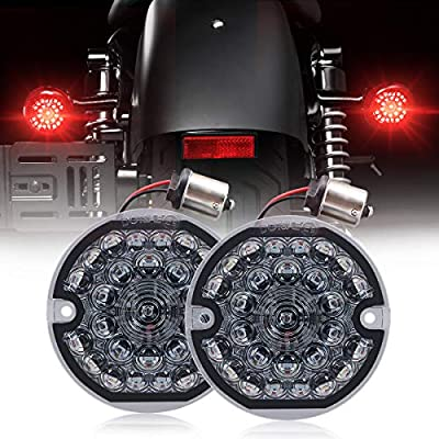3-1/4 Inch Rear Led Turn Signal Flat Smoke Lens 1156 Base Bright Red Lamp for Harley Motorcycle Road Glide Road King Softail Ultra Classic Ultra Limited Electra Glide (1156 Rear, Red): Automotive