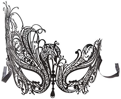 Luxury Mask Women's Swan Metal Filigree Laser Cut Venetian Masquerade Mask, Black/Black Stones, One Size