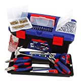 Tool Kit. Best Portable Big Basic Starter Professional Household DIY Hand Mixed Repair Set W/Storage Box For Home, Garage, Office For Men, Women. Includes Screwdriver, Wrench, Pliers, Etc.