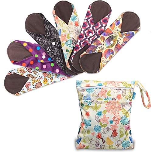 (Teamoy 6Pcs 11.6 Inches Sanitary pad, Reusable Washable Cloth Menstrual Pads/Panty Liners with Wet Bag, Super-Absorbent, Perfect for Heavy Flow or Overnight Use(Large, Mixed Pattern))