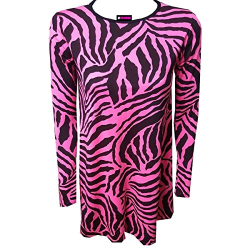 Long Pink Mini Flared Top Women Ladies Neon Swing Sleeve Stretchy Dress Zebra Print Skater BxgSwAqEp