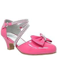 Kids Dress Shoes Girls High Heels Sandals Rhinestone Bow Accent Kitten Heel Sandals SBO-KSH-47