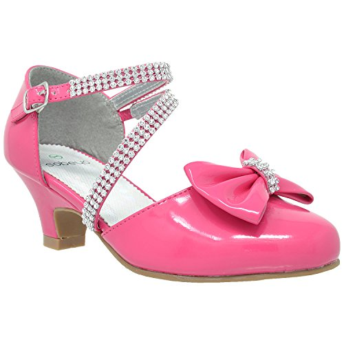 Generation Y Kids Girls Sandal Rhinestone Bow Accent Kitten Low Heel Shoes Fuchsia SZ 11 - Kids High Heel Shoes