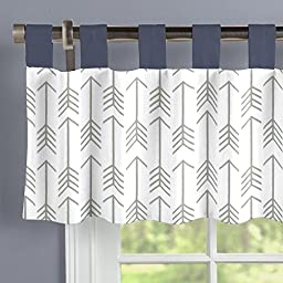 Carousel Designs White and Gray Arrow Window Valance Tab-Top