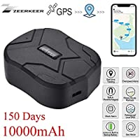 ZEERKEER GPS Tracker for Vehicles, 150 Days Standby Waterproof Anti-Lost GPS Locator with Geo-Fence SOS Alarm GPS Position Tracker for Cars/Trucks/Motorcycles/Ship Via Free App (10000mAh)