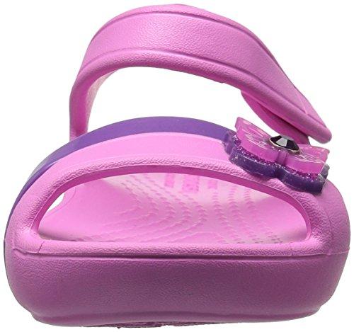 Crocs Lina Sandal, Sandalias de Punta Descubierta Para Niñas Rosa (Party Pink)