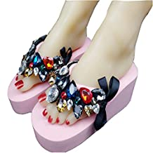 T-JULY Womens Girls Ladies Platform Flip Flops Wedge Sandals with Crystal Butterfly Gems Slippers